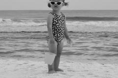 Little Girl Gazes on the Beach - Black n White