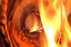 Fiery Hole in Wood - Vertical
