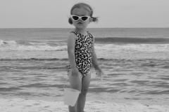Little Girl Gazes on Beach - Black n White