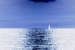 Golden Sunset Sailboat - Negative