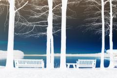 Lakeside Seating at Sunset 2 - Negative